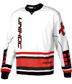 UNIHOC GOALIE SWEATER FEATHER white/neon red