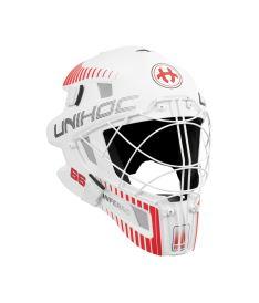 Brankářská florbalová maska UNIHOC GOALIE MASK INFERNO 66 white/neon red